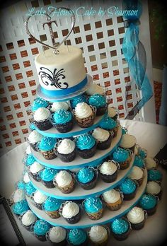 Turquoise Wedding Cake Cupcake Tower, Cupcakes, Scroll Work, Black, Sugar Pearls, Decorate my Cupcake White, Lake House Cake by Shannon Panama City Beach, FL