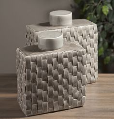 Sophie Woven Ceramic Canisters - Set of 2 - With a soft gray finish, this set of two lidded ceramic canisters have a woven texture and accent a variety of looks.