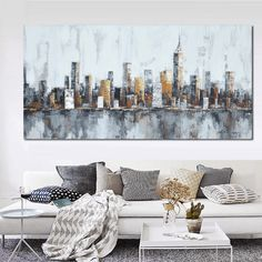 1 Panel Classic New York City Skyline Unframed Modern Wall Canvas - Octo Treasures - 1