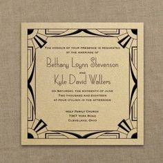 Occasions to Blog: Great Gatsby Wedding Ideas (Invitation Link - http://occasionsinprint.carlsoncraft.com/3214-MM1333931077-All-That-Jazz--Imperial-Invitation--Gold-Shimmer.pro)