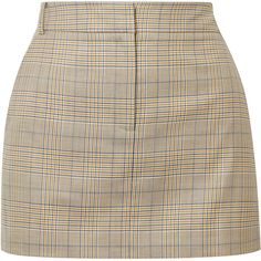 Tibi Cooper Prince of Wales checked wool and silk-blend mini skirt (21.385 RUB) ❤ liked on Polyvore featuring skirts, mini skirts, bottoms, beige, brown mini skirt, short wool skirt, short mini skirts, brown skirt and short brown skirt