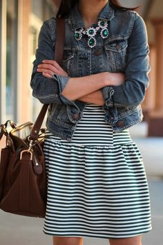 Drop-waist dress with jean jacket and adorable necklace.