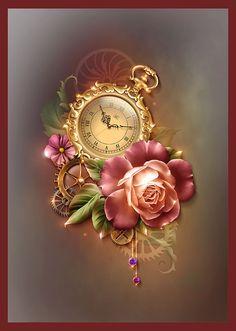 Personal website of artist Barnali Bagchi. Cute Wallpapers, Wallpaper Backgrounds, Poster Mural, Watch Tattoos, Vintage Pocket Watch, Pics Art, Fractal Art, Vintage Images, Alice In Wonderland