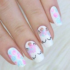Al mal tiempo, uñas lindas🥰💅 Unicorn Nails Designs, Unicorn Nail Art, Trendy Nails, Cute Nails, My Nails, Nails For Kids, Girls Nails, Natural Gel Nails, Best Nail Art Designs