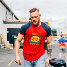 2fd1fdf0b67 Conor McGregor Wears Gucci Logo T-Shirt Outside The Gym