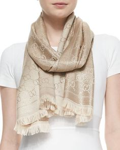 Shimmer+Stencil+Scarf,+Gold+by+Gucci+at+Neiman+Marcus.