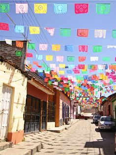 Ceiling decor: papel picado (perforated paper, Mexican folk art)