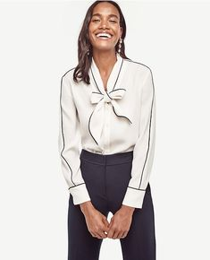 Primary Image of Piped Tie Neck Blouse
