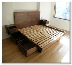 Diy Platform Bed With Drawers Plans Tips For Building A Simple Inside Diy Queen Bed Frame How To Diy Queen Bed Frame Plans King Platform Bed Frame, Platform Bed Plans, Platform Bed With Drawers, Bed Frame With Drawers, King Size Bed Frame, Bed Frame With Storage, Platform Beds, Large Drawers, Bed With Drawers Underneath