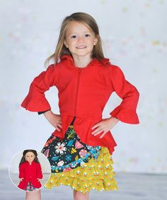 Ruffly hems add playful charm to this vibrant jacket designed with a girly pleated back and topped with a handy zipper front. A matching outfit for Dolly doubles the playtime fun.