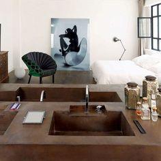 Salle de bains ouverte sur la chambre, suite parentale - CôtéMaison.fr