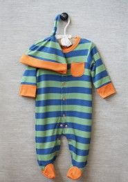 casual baby striped footie in green