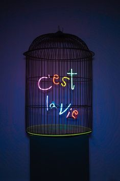 Available for sale from MAIA Contemporary, Olivia Steele, C´est la Vie Hand blown and coloured neon on vintage metal cage, 75 × 50 × 50 cm Neon Aesthetic, Aesthetic Words, Wallpaper Iphone Neon, Phone Backgrounds, Neon Design, All Of The Lights, Elements Of Design, Vintage Metal, Vintage Birdcage