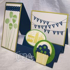 Stampin' UP! Patterned Party Side Step Card  * Luv 2 Cre8 With U! *