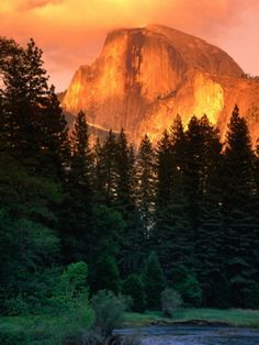 Half Dome Seen from Sentinel Bridge Over Merced River, Yosemite National Park, USA