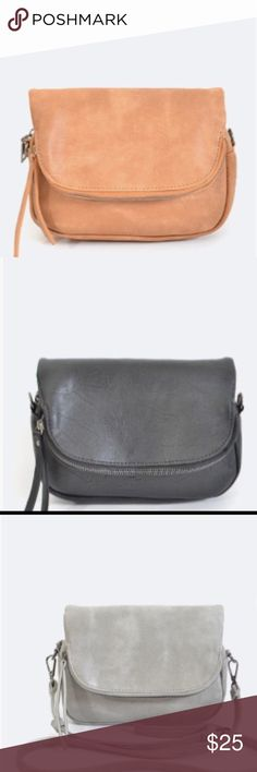 "Soft leather crossbody bag Available in 3 colors: tan, gray and black 8""x3""x6""(LxWxH) Bags Crossbody Bags"