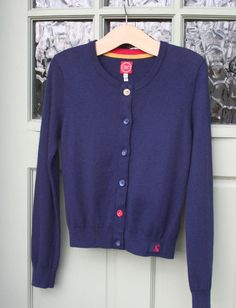 JOULES soft lightweight wool/angora Navy cardigan top...size 10