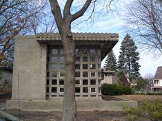 Abandoned mid-century house by Frank Lloyd Wright in Detroit.