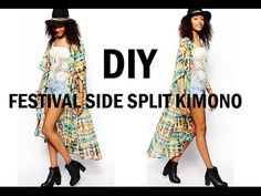 DIY | HOW TO MAKE A FESTIVAL SIDE SPLIT KIMONO/CARDIGAN - YouTube