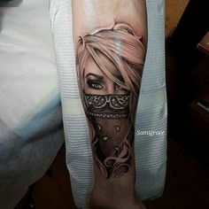 Blond eyes face hair bandana tattoo inspiration