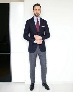 navy blazer light blue shirt burgundy polka dots tie white pocket square grey wool trousers black brogue shoes