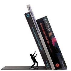 """THE END"" BOOKEND - The end is near... but that's a GOOD thing, because The End is a clever bookend that will lend some dramatic structure to your personal library. It's made from strong steel that's been precision-cut and handsomely powdercoated. So don't be crushed by the weight of all your books - organize them! http://www.cubiclelife.com/#!product/prd15/4111531441/%22the-end%22-bookend"