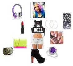 """""""Omg girlz babydoll outfit"""" by happynini ❤ liked on Polyvore featuring Forever 21, Billabong, Morra Designs, Allurez, Barry M, INDIE HAIR, Costella, Beats by Dr. Dre and Jeffrey Campbell"""