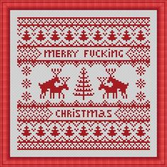 Merry F_cking Christmas Funny Cross Stitch PDF Pattern Nordic Pattern Christmas Reindeer