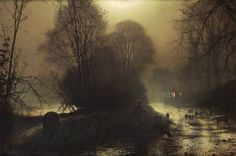 John Atkinson Grimshaw - Shepherd with sheep in a moonlit lane, 1877