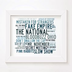 The National 'Crystalline' limited edition typography lyrics art print, signed and numbered album wall art poster available from www.lissomeartstudio.com