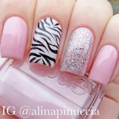 pink french nails with zebra print acent nail Great Nails, Fabulous Nails, Gorgeous Nails, Hot Nails, Pink Nails, Hair And Nails, Silver Nails, Beautiful Nail Designs, Cute Nail Designs