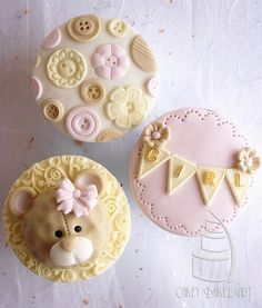 Girl Baby Shower Cupcakes - Including bear, girl banner, and cute as a button theme Sic Em Bears Cupcakes Fondant, Fondant Toppers, Cupcake Cookies, Baby Cookies, Cupcake Toppers, Baby Shower Cupcakes, Shower Cakes, Tortas Baby Shower Niña, Cupcakes Flores