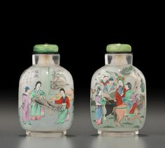 An inside-painted glass 'figural' snuff bottle Ye Family Studio, dated jiazi (1924) 2 3/8in (6cm) high 葉氏家族風格 玻璃內畫人物圖鼻煙壺 甲子年(1924)
