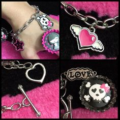 "Punk Bottle Cap Custom Toggle Charm Bracelet Made this with a kit. Really cute and kawaii punk dangle charm bracelet. Pink, black, white, and silver color scheme. Heart toggle. All charms shown are included. Inner decoration of caps include a girl and skull which are cardboard so not waterproof. Rest of the charms are metal and include a dead frowns face star, silver ""love"" emblem, skull with heart eyes and a bow. Tagged ht for similarities. #goth #punk #kawaii #retro #art #skater #diy #ooak…"