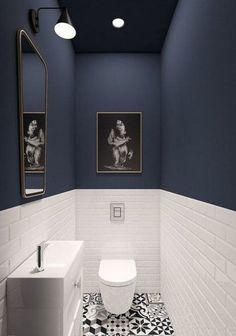 93 Cool Black And White Bathroom Design Ideas oneonroom - Wohnkultur // Badezimmer im Erdgeschoss - Bathroom Decor Downstairs Bathroom, Bathroom Small, Bathroom Black, Cool Bathroom Ideas, Bathroom Toilets, Mosaic Bathroom, Dark Blue Bathrooms, Bath Ideas, Bathroom Modern