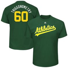 """Andrew Triggs """"Triggonometry"""" Oakland Athletics Majestic 2017 Players Weekend Name & Number T-Shirt - Green"""