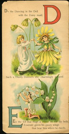 usmspcol:  Settle down there, Elf. Those lily bells are delicate! Gif created from a page found in All About the Fairies ABC. Published by Raphael Tuck & Sons, circa 1901. Illustrated by Nora Hopper. Part of the de Grummond Children's Literature Books Collection.