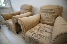 Chairs upholstered with coffee sacks. Cute, and this could actually be done with barstools or chair cushions which would make it a super easy project.