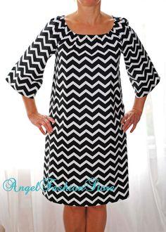 Chevron Peasant Dress Women Lady Size xxs XS s m l xl xxl 2xl 3xl Cotton Black and White