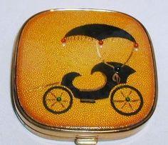 Vintage Evans Buggy Enamelled Jewelled Powder Compact