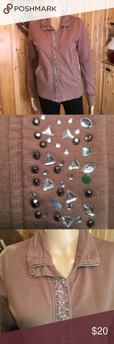 """BCBGMAXAZARIA Rhinestones & Beads Front & Back S The best way to describe the color is, hot chocolate! Light weight. Feels soft and like a super soft sweat shirt. Has a full Zipper and snaps in the front. When zipped, bust is 36@. Length is 230. 23"""" sleeves. 2 pockets on either side. Very good condition and comes from my non smoking home BCBGMaxAzria Jackets & Coats"""