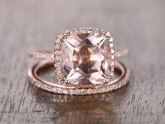 9mm Cushion Cut Pink Morganite Ring Set 14K Rose by kilarjewelry