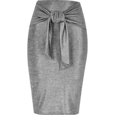 River Island Silver tied waist pencil skirt ($29) ❤ liked on Polyvore featuring skirts, jersey skirt, river island, metallic pencil skirt, silver metallic skirt and pencil skirts