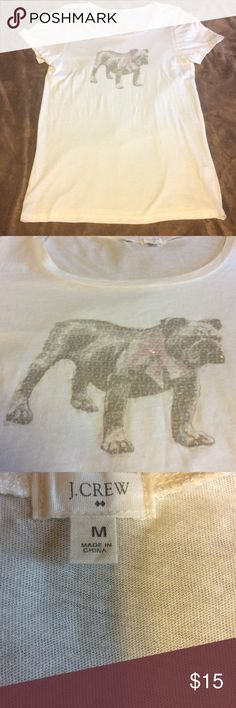 NEW J. Crew bulldog t-shirt New without tags super soft tee featuring a sequined bulldog with a bow tie. The shirt is flawless. J. Crew Tops Tees - Short Sleeve