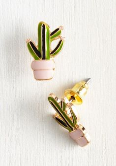 Plant Believe It Earrings. The cutest pair of cactus earrings? #modcloth #Earrings