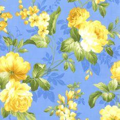 United Notions & Moda Fabrics Summer Breeze Lg Floral Med Blu  32460 13 Moda Basic #1