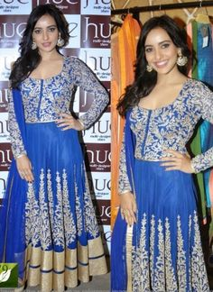 Neha Sharma Blue Heavy Embroidery Work Salwar Suit http://www.angelnx.com/Salwar-Kameez/