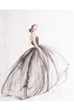 Modezeichnung – Illustration – – Keep up with the times. Fashion Illustration Sketches, Fashion Sketchbook, Fashion Sketches, Illustration Art, Sketchbook Ideas, Design Illustrations, Sketchbook Drawings, Art Drawings, Christian Siriano