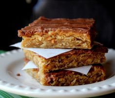 Lunch Lady Peanut Butter Oatmeal Chocolate Bars from @jamiecooksitup