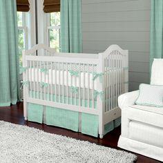 Mint Herringbone Crib Bedding | Neutral Baby Bedding | Carousel Designs